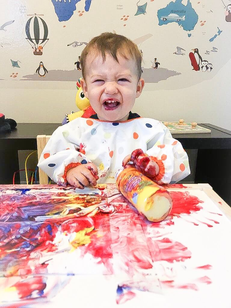 Mixing Paint Colors Activity for 13 months old