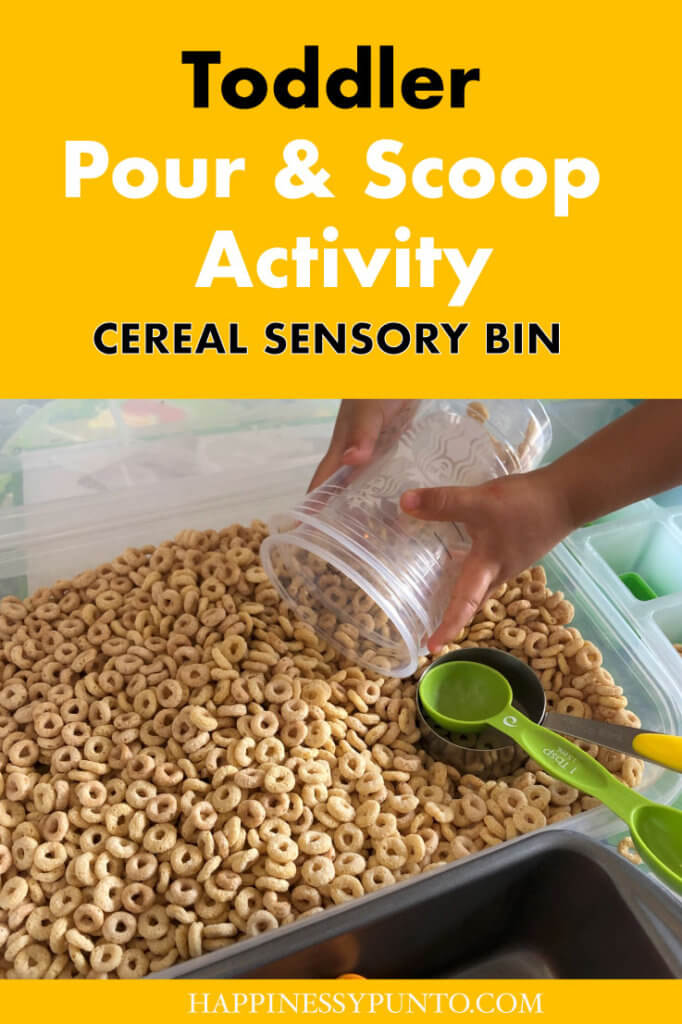 A cereal sensory play bin is great for a pouring and scooping activity. Here's how to set it up and teach this important life skill.