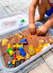 Construction themed sensory bin